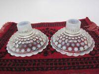 Anchor Hocking Glass orig MOONSTONE Opalescent Candle Holder Set 2 Vintage Exc
