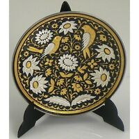 Damascene Gold / Silver Dove Round Decorative Mini Plate by Midas Toledo Spain