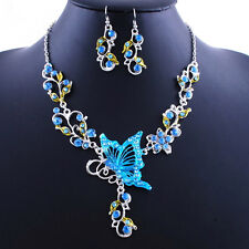 ED29 Ornate Blue Silver Delicate Austrian Crystal Butterfly Necklace Boutique