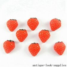 40pcs Red Strawberry Flatback Cabochons Resin Crafts Jewellery Findings 51203
