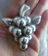 Vintage Mexico 925 Sterling Silver Large 3D Grape Cluster Brooch 24 Grams OFFER