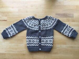 Handmade knitted Fair Isle seamless long sleeved yoke cardigan, 12-18 months