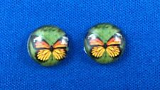 Yellow/Green butterfly flat back cabochon 12mm