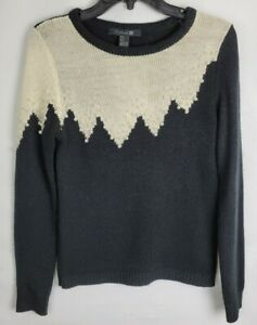 Forever 21 Medium Black Cream Knit Winter Pearl Detail Long Sleeve Sweater