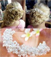 Braut Haarschmuck Tiara Diadem Schmuck Haargesteck Hochzeit Perlenschmuck Perlen
