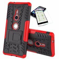 Für Sony Xperia XZ2 Hybrid Case 2 teilig Rot Hülle + 0,3 mm H9 Hartglas Tasche