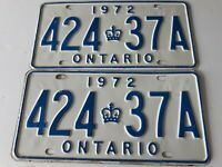 VTG 1972 Pair Of Ontario License Plate 424 37A Canada Crown