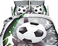 Single Bed 3D Duvet Cover Set Football Shoot Grey Grey Black White Reversible