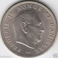 Königrech Dänemark 1964 - Frederik IX. / Gekröntes Wappen - 5 Kroner Münze UNC.