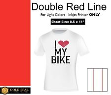 Double Red Line Light Iron On Heat Transfer Paper For Inkjet 85 X 11 75 Sheets