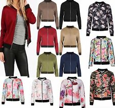 Womens Ladies Celeb Inspired PLAIN FLORAL Biker Vintage BOMBER JACKET PLUS SIZE