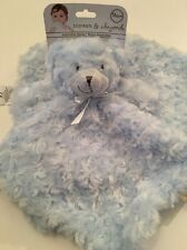 Blankets And & Beyond Baby Boy Security Lovey Nunu Blue Bear #1 Swirls Rosette