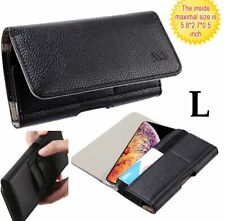 Samsung Galaxy J7 - Black HORIZONTAL Leather Pouch Holster Belt Clip Case Cover