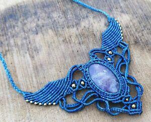 Macrame Necklace Pendant Jewelry Amethyst Cabochon Stone Handmade Bohemian M8