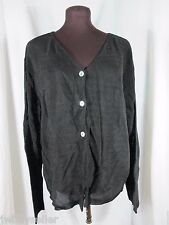 Coldwater Creek Black Mesh Cardigan Sweater Large Made in USA