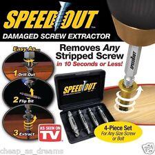4PZ Screw Extractor Drill Bit Set Guida rotto danneggiato Bullone REMOVER Velocità in uscita