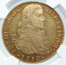 1812 MEXICO under Spain KING FERDINAND VII Gold 8 Escudos Coin NGC AU i85222