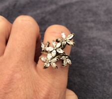 CZ Flower Ring Sterling Silver Satement Ring (New )