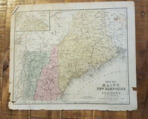 Antique Hand Colored MAP OF MAINE, N.H. & VERMONT Common School Geography 1873