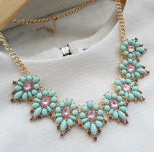 Mint and Purple Jeweled Statement Necklace Bib Necklace J crew inspired