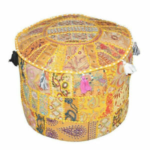Ethnic Indian Round Embroidered Pouffe Cover Yellow Ottoman Footstool 22 Inch