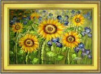 Framed Van Gogh Sunflowers & Iris Field Repro, Hand Painted Oil Painting 24x36in