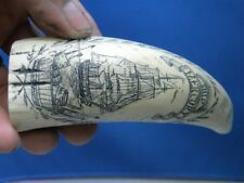 Scrimshaw Sperm Whale Tooth Resin Hand Carved Replica Ship Bone Fossil Boat Art