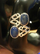 BEAUTIFUL NATURAL LAPIS LAZULI GEM 100% SOLID .925 STERLING SILVER RING SZ 8