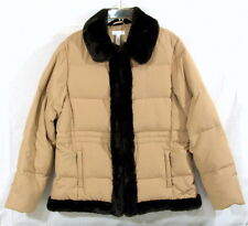 Charter Club Jacket Tan with Brown Faux Fur Trim Down and Feather Filled Size L