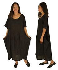 LB800SW Kleid Leinen bedruckt Vintageoptik one size Gr. 44 46 48 50 schwarz