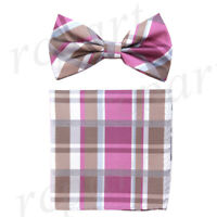 New Men's Pre-tied Bow tie & hankie Brown pink plaids & checkers formal