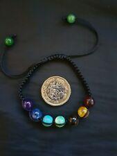 Multicolored 7 Chakra Balancing Cord Drawstring Bracelet Hinduism Buddhism