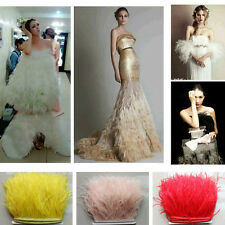 Ostrich Feather Dress Frill Trim Sewing Accessories Selvage Material DIY Wedding
