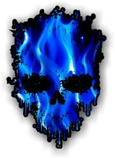 Goteo ciclista cráneo & Azul Eléctrico llamas Motif Vinilo Coche Moto Adhesivo Calcomanía