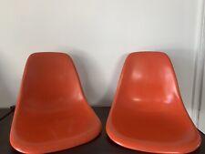 2x Herman Miller Eames Fiberglass Side Shell Chairs Orange