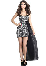 Hot Fashion Black Chiffon Hem Attached Strapless Vintage Dress