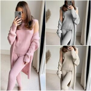 Women's 3 Piece Roll Neck Chunky Knitted Tracksuit Ladies Ribbed Lounge Wear Set