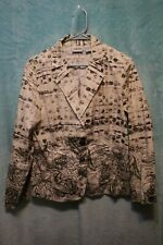 ⚜Woman's Printed button down Jacket by Chico's size 1~brown/ivory random