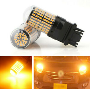 2Pcs T20 144 SMD LED Bulbs Auto Car Amber Turn Signal Running Light 360 Degree
