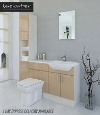 CAPPUCCINO / WHITE AVOLA BATHROOM FITTED FURNITURE 1500MM WITH TALL UNIT