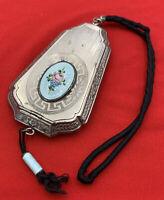 Powder Compact Wrist Wristlet Vintage Original Silver Tone 20-2605