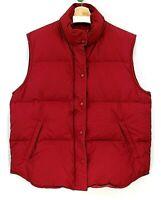 Eddie Bauer Goose Down winter Women's Puffer jacket Vest Red Full Zip Size Large