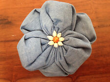 Handmade Poppy Flower Pin Brooch Pendant Chambray Blue Cotton Wood Fabric 3.5""