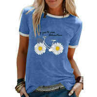 Womens Short Sleeve Daisy Print T-shirt Ladies Baggy Casual Blouse Pullover