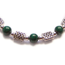 Sterling silver Malachite CELTIC bracelet knotwork green gemstone gem stone
