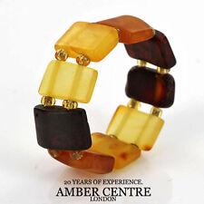German Baltic Fiery Orange,Cognac Amber Handmade Elastic Ring RB005 RRP£35!!!