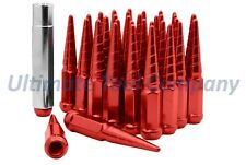 "(32) M14x1.5 Red Twisted Tip Spike Lug Nuts | 4.5"" Steel Design HD Socket Key"