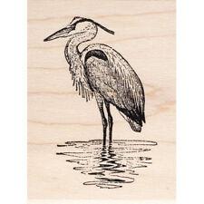 Heron in Water Beeswax Rubber Stamp Mounted Animals Birds Wildlife Scenic