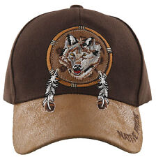 NEW! NATIVE PRIDE WOLF FEATHERS FAUX LEATHER BASEBALL CAP HAT BROWN