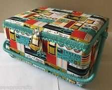 Luxe couture boîte panier bleu & rose-medium craft box storage case cadeau